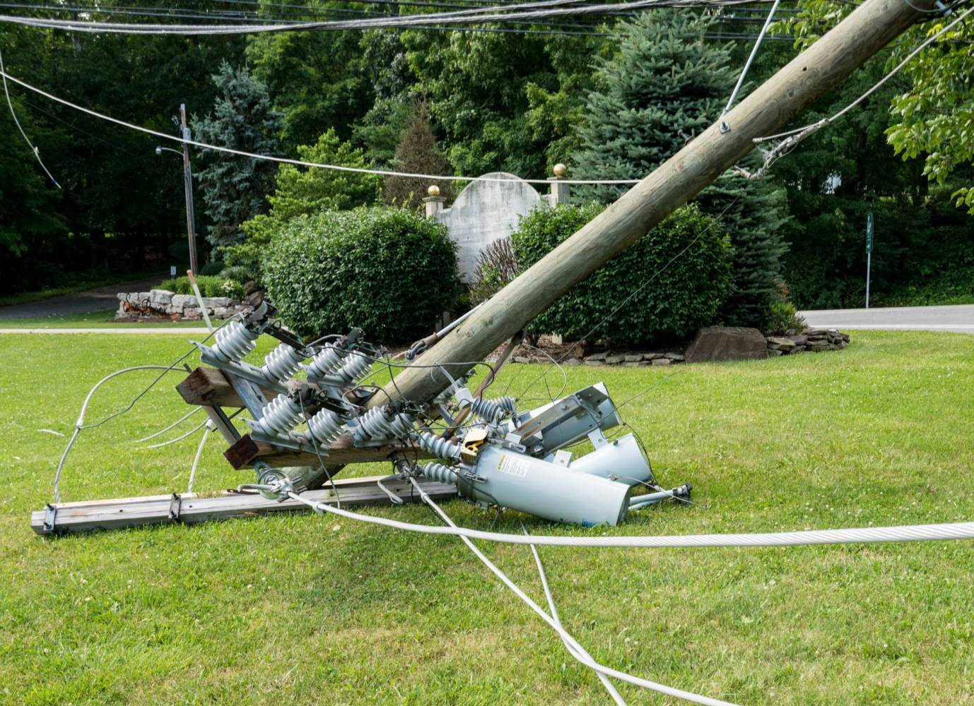 Image of broken power pole time for a back up power generator
